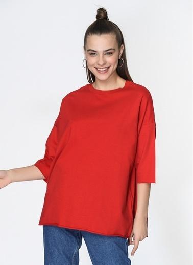 Loves You Kısa Kol Mevsimlik Sweatshirt Kırmızı